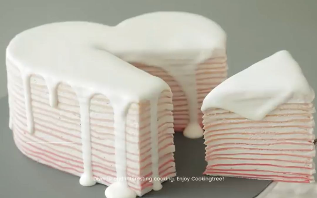 【早安甜食】【搬运】【Cooking tree】Heart Crepe Cake Recipe
