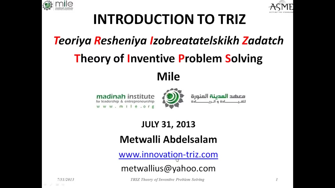 TRIZ' or 'TIPS' 'Theory of Inventive Problem Solving' and how to achieve our Com