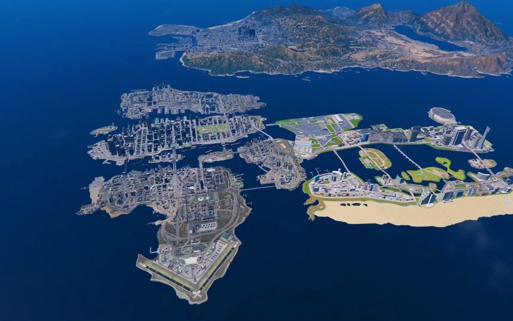《GTA5》地图超大的扩展版(包括:罪恶都市,GTA4,圣安地列斯等)