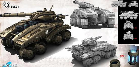 """《命令与征服4》游戏中出现的gdi""""猎人""""轮式坦克"""